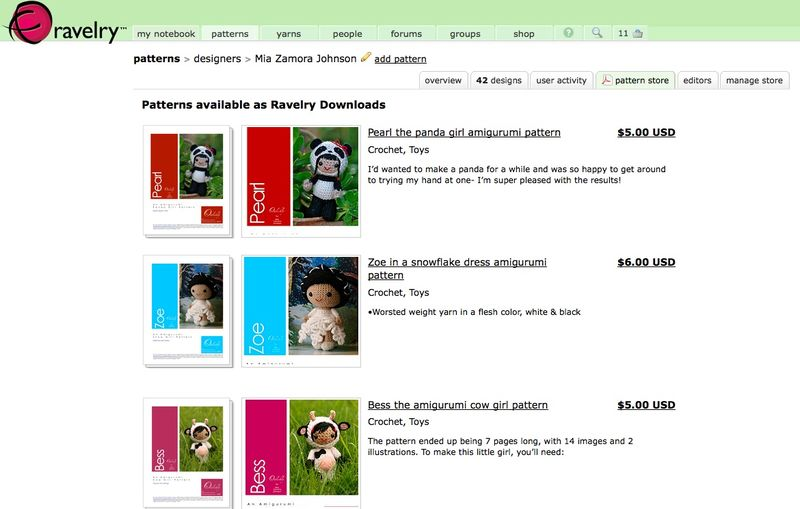 Ravelry store screen shot